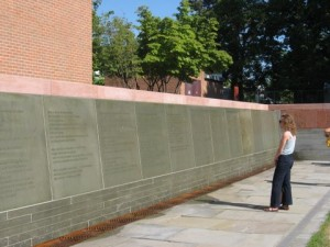 The wall commemorating the women (and a few men) who signed the conventions's Declaration of Sentiments.