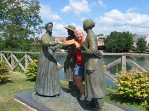 Statues of Amelia Bloomer introducing Elizabeth Cady Stanton to Susan B. Anthony on a Seneca Falls street corner. I had to get in on the group hug.